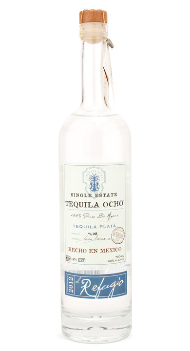 Bottle of Ocho Tequila Plata - El Refugio 2012