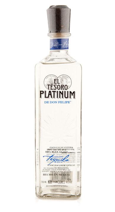 Bottle of El Tesoro Tequila Platinum