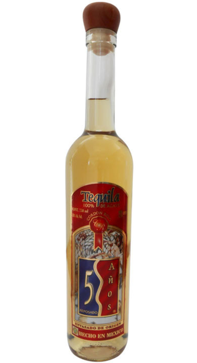 "Bottle of 5 Años Reposado ""Cordon Rojo"""