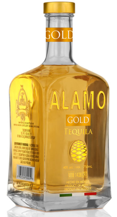 Bottle of Alamo Gold Tequila