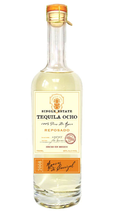 Bottle of Ocho Tequila Reposado - Rancho Carrizal 2008