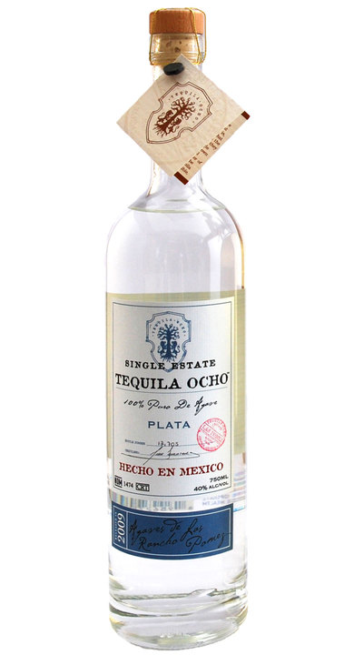 Bottle of Ocho Tequila Plata - Las Pomez 2009