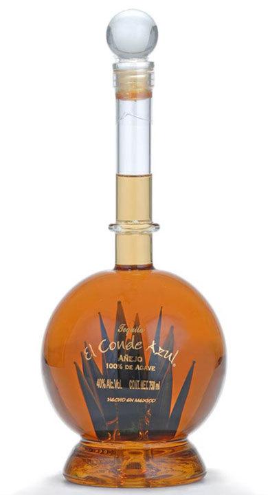 Bottle of El Conde Azul Añejo