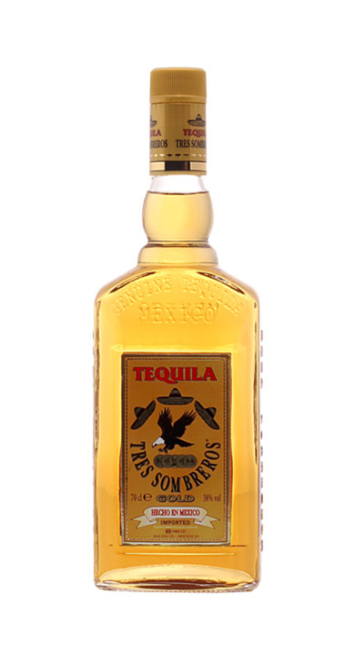 Bottle of Tres Sombreros Gold