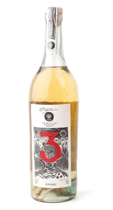 Bottle of 123 Organic Tequila Añejo