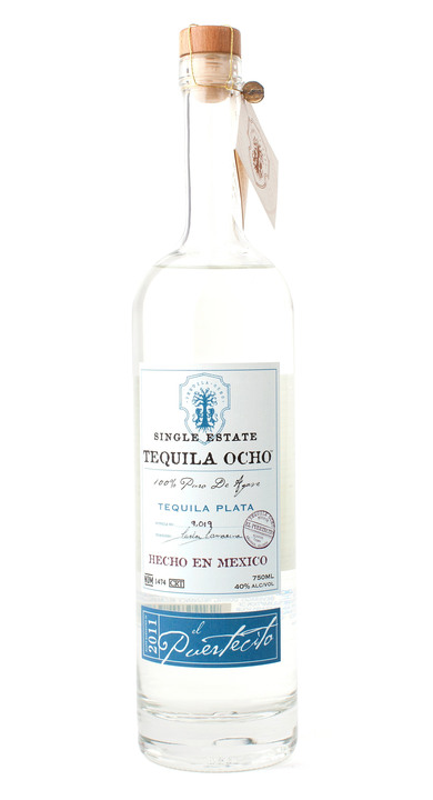 Bottle of Ocho Tequila Plata