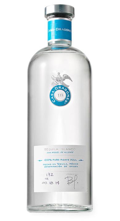 Bottle of Casa Dragones Tequila Blanco