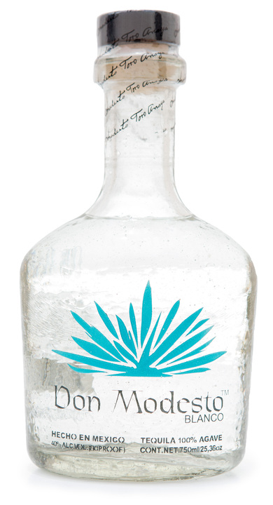Bottle of Don Modesto Tequila Blanco