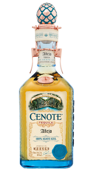 Bottle of Cenote Tequila Añejo
