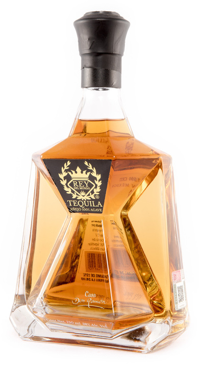 Bottle of Rey Del Mundo Tequila Añejo