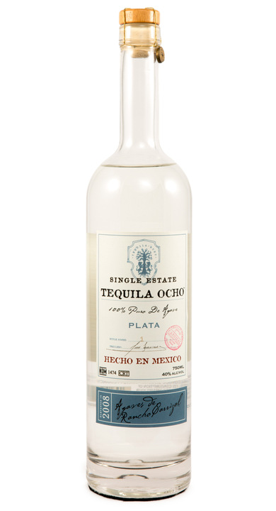 Bottle of Ocho Tequila Plata - Rancho Carrizal 2008