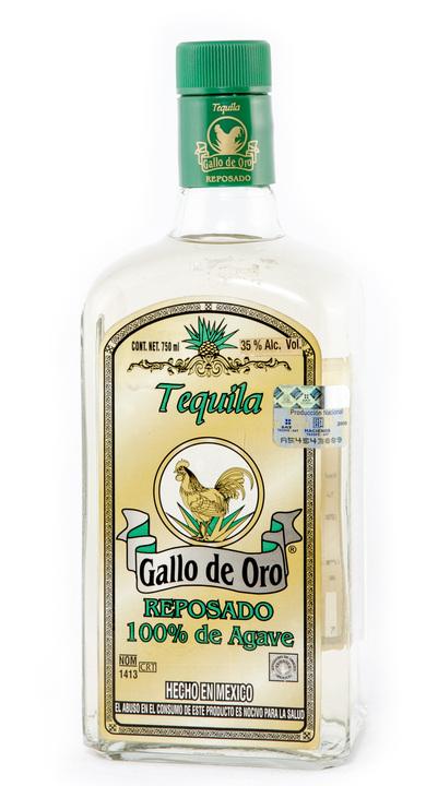 Bottle of Gallo de Oro Tequila Reposado