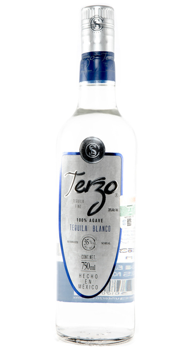 Bottle of Terzo Tequila Blanco