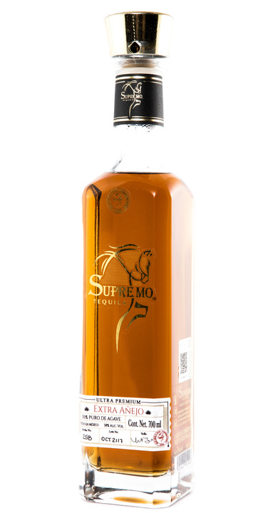 Bottle of Supremo Tequila Extra Añejo