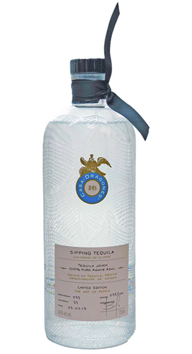 Bottle of Casa Dragones Tequila Joven (Pepita Bottle)