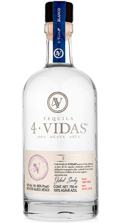 Bottle of 4 Vidas Tequila Blanco