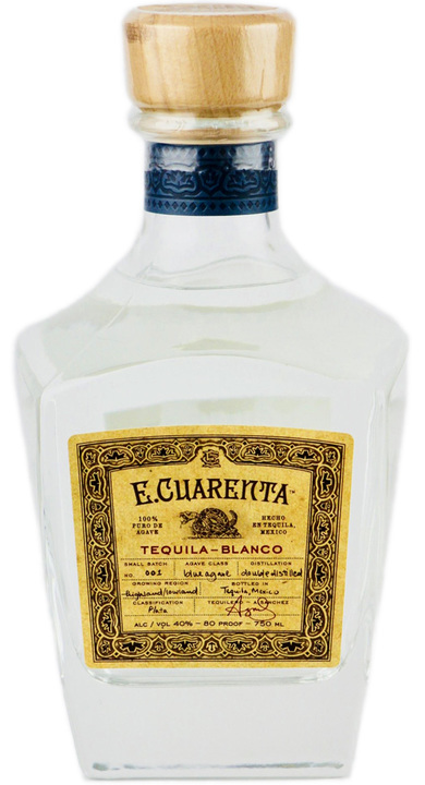 Bottle of E. Cuarenta Tequila Blanco