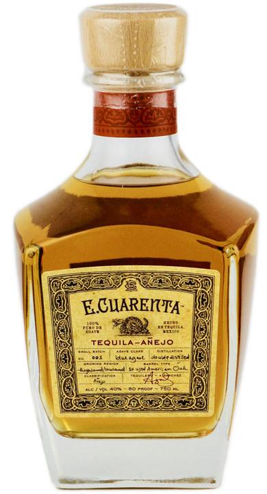 Bottle of E. Cuarenta Tequila Añejo
