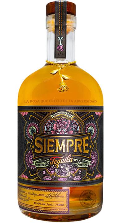 Bottle of Siempre Tequila Anejo