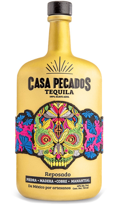 Bottle of Casa Pecados Tequila Reposado