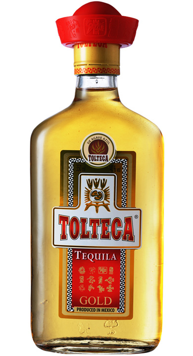 Bottle of Tolteca Tequila Gold