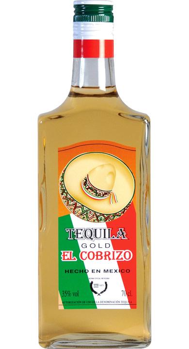 Bottle of El Cobrizo Tequila Gold