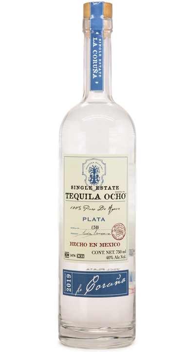 Bottle of Ocho Tequila Plata - La Coruña 2019