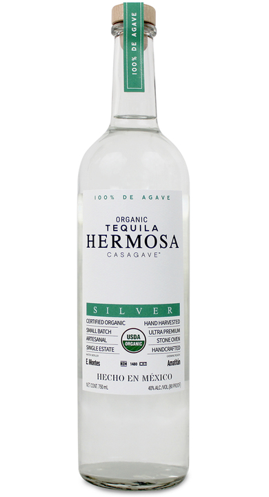 Bottle of Hermosa Casagave Silver Organic Tequila