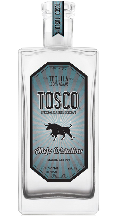 Bottle of Tosco Tequila Añejo Cristalino