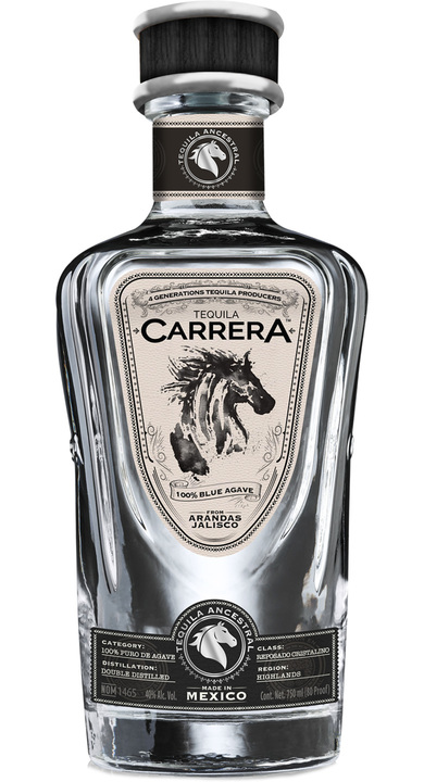 Bottle of Carrera Tequila Reposado Cristalino