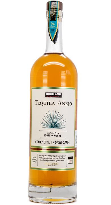 Bottle of Kirkland Signature Añejo Tequila