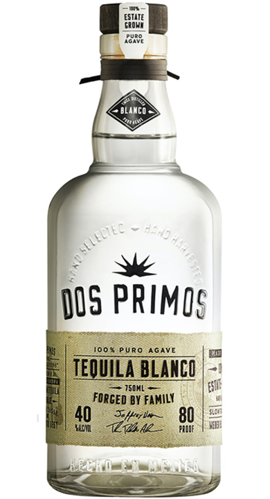 Bottle of Dos Primos Tequila Blanco